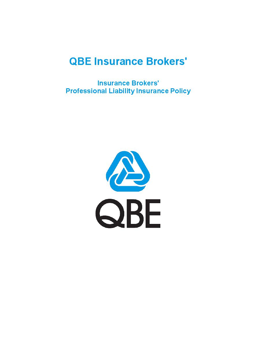 PJPK060819 QBE Insurance Brokers Professional Liability Policy