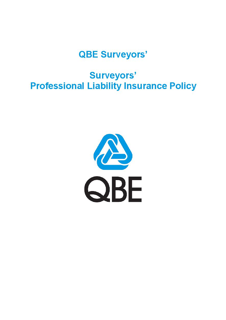 PJPL060819 QBE Surveyors' Professional Liability Policy