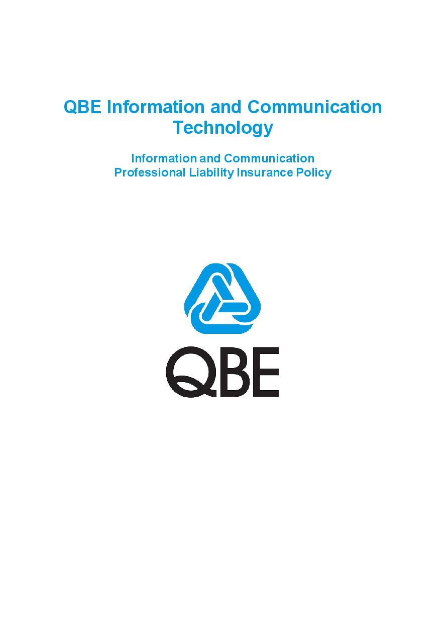 PJPW060819 QBE Information Communication Technology Professional Liability Policy