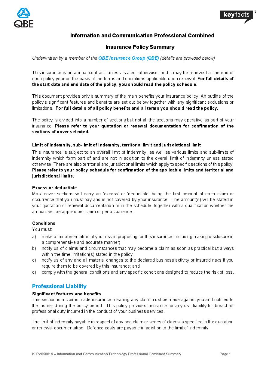 KJPV090819  Information and Communication Technology Professional Combined Summary Summary