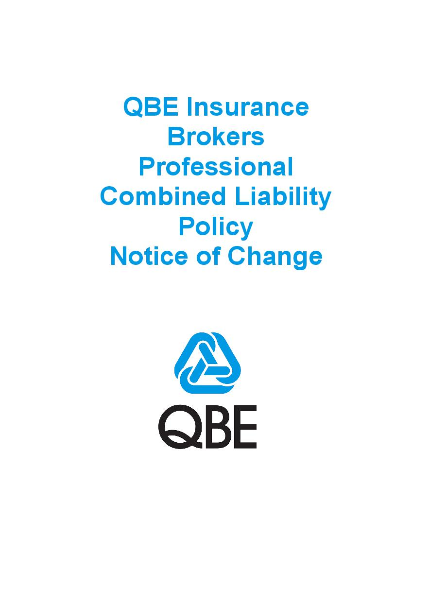 NJBL090819 QBE Insurance Brokers Professional Combined Liability Policy   Notice of Change
