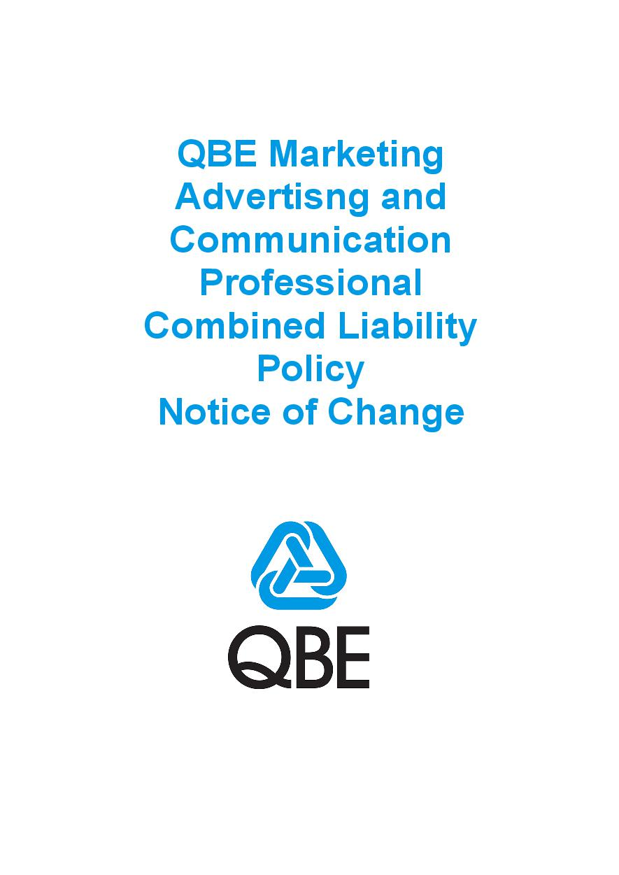 NJME090819 QBE Marketing Advertisng and Comm Professional Combined Liability Policy   Notice of Change