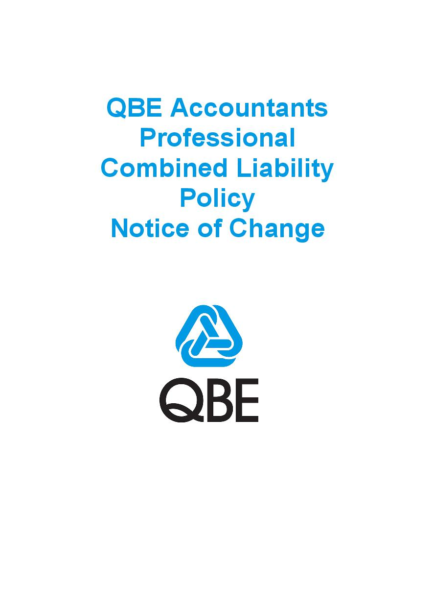 NJPB090819 QBE Accountants Professional Combined Liability Policy   Notice of Change