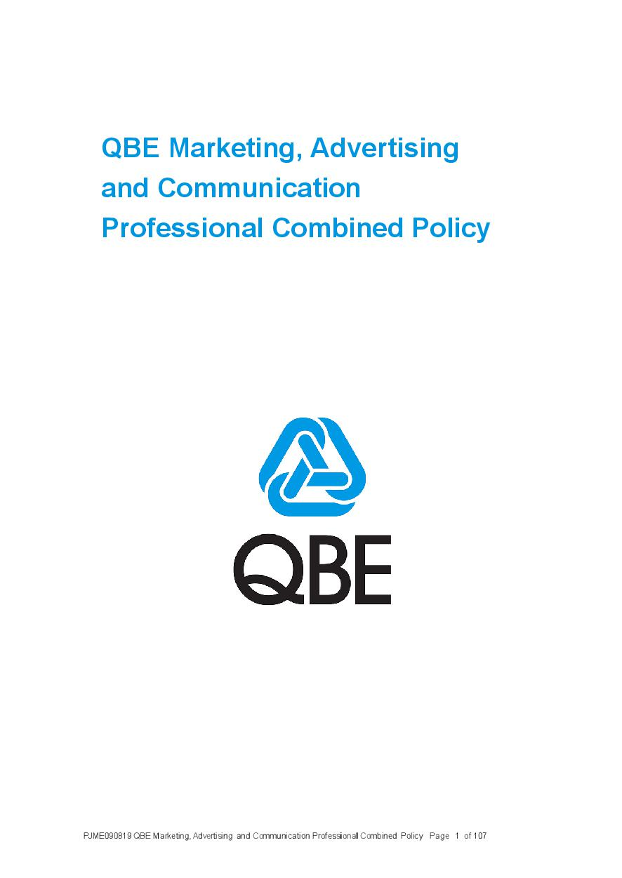 PJME090819 QBE Marketing Advertising and Communications Professional Combined Liability Policy