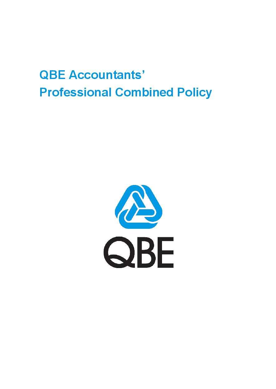 PJPB0090819 QBE Accountants Professional Combined Liability Policy