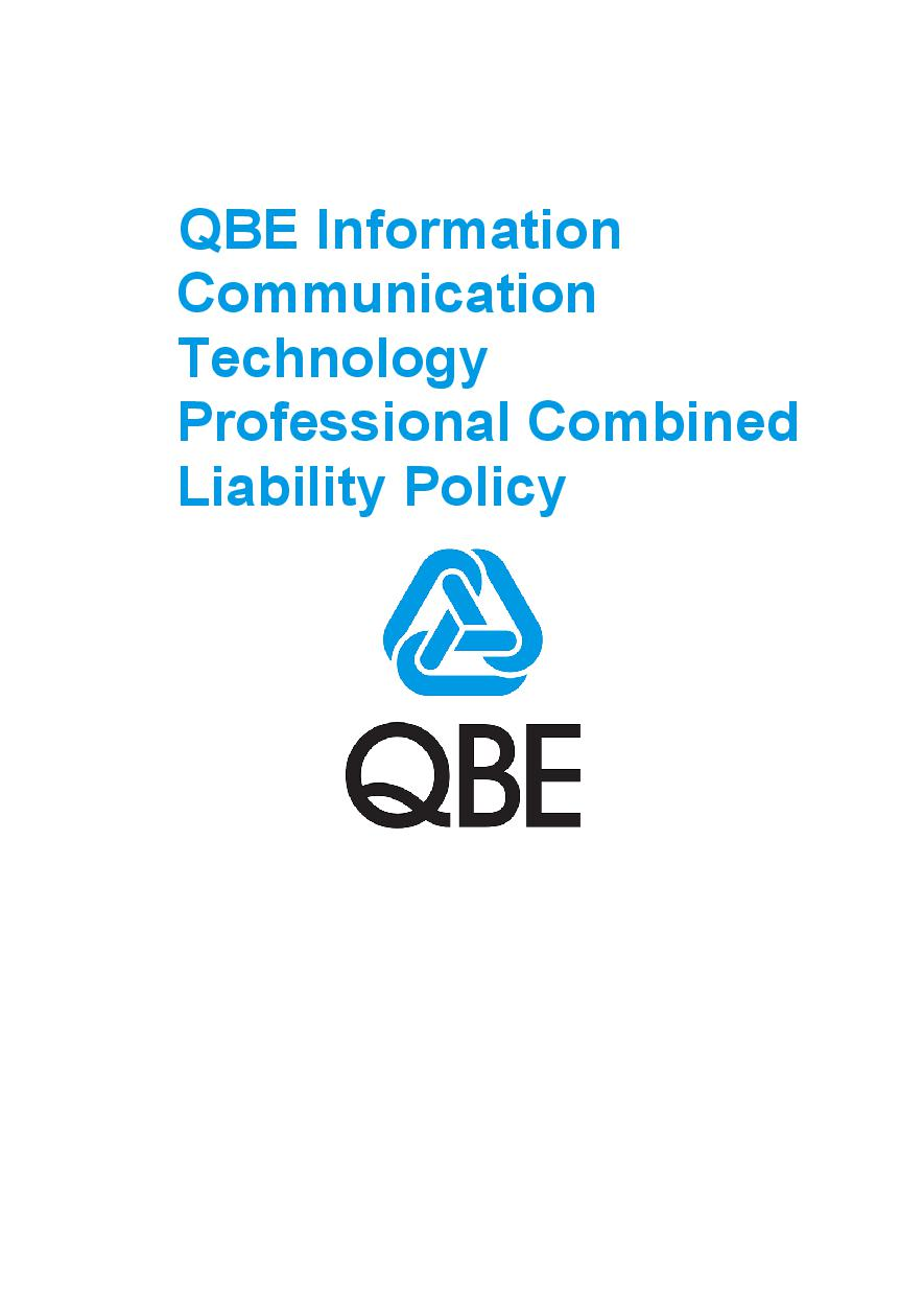 PJPV090819 QBE Information Communication Technology Professional Combined Liability Policy