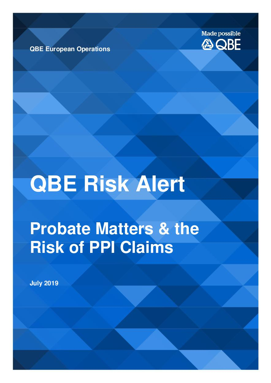 Probate Matters & the risk of PPI claims