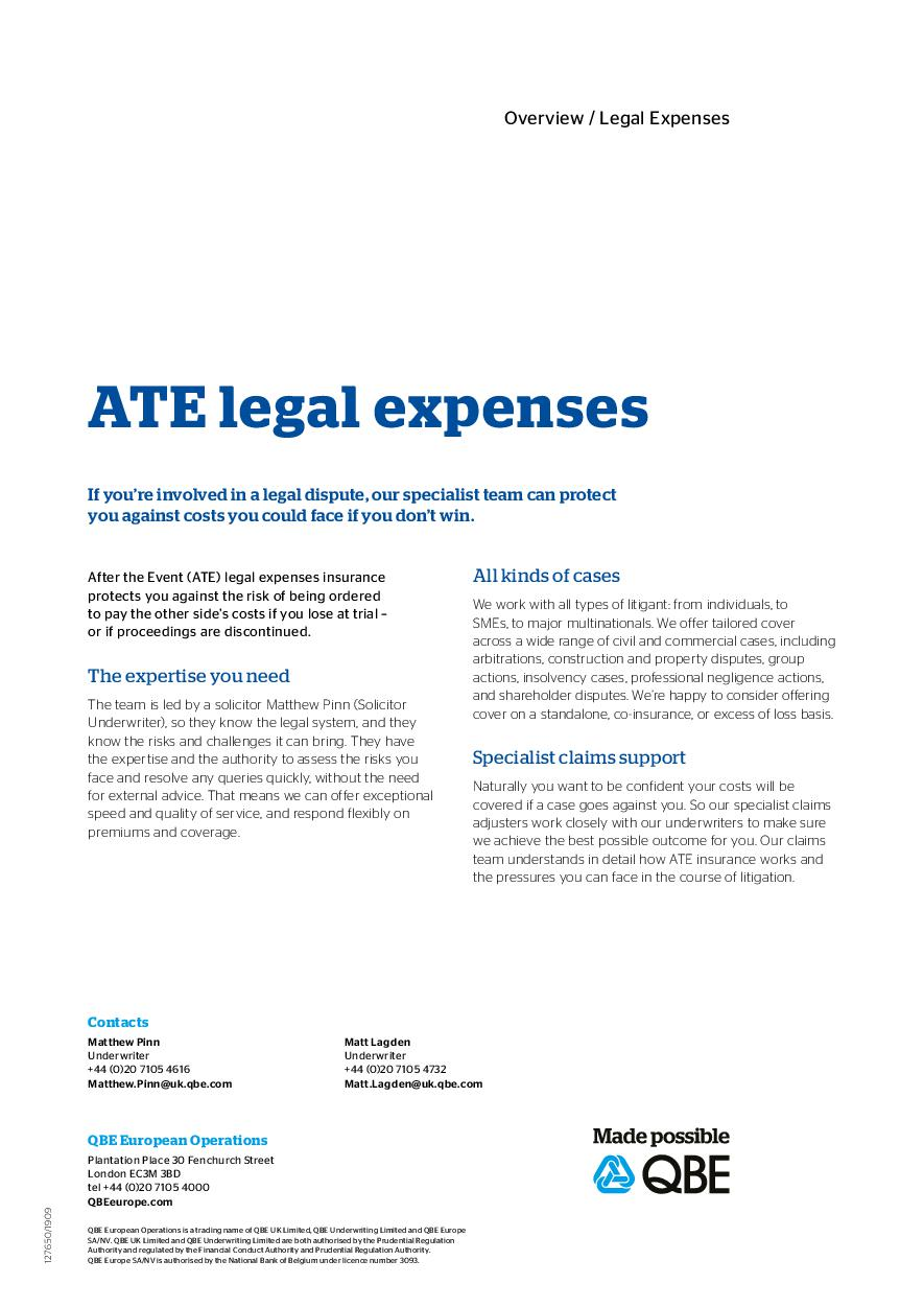 ATE legal expenses