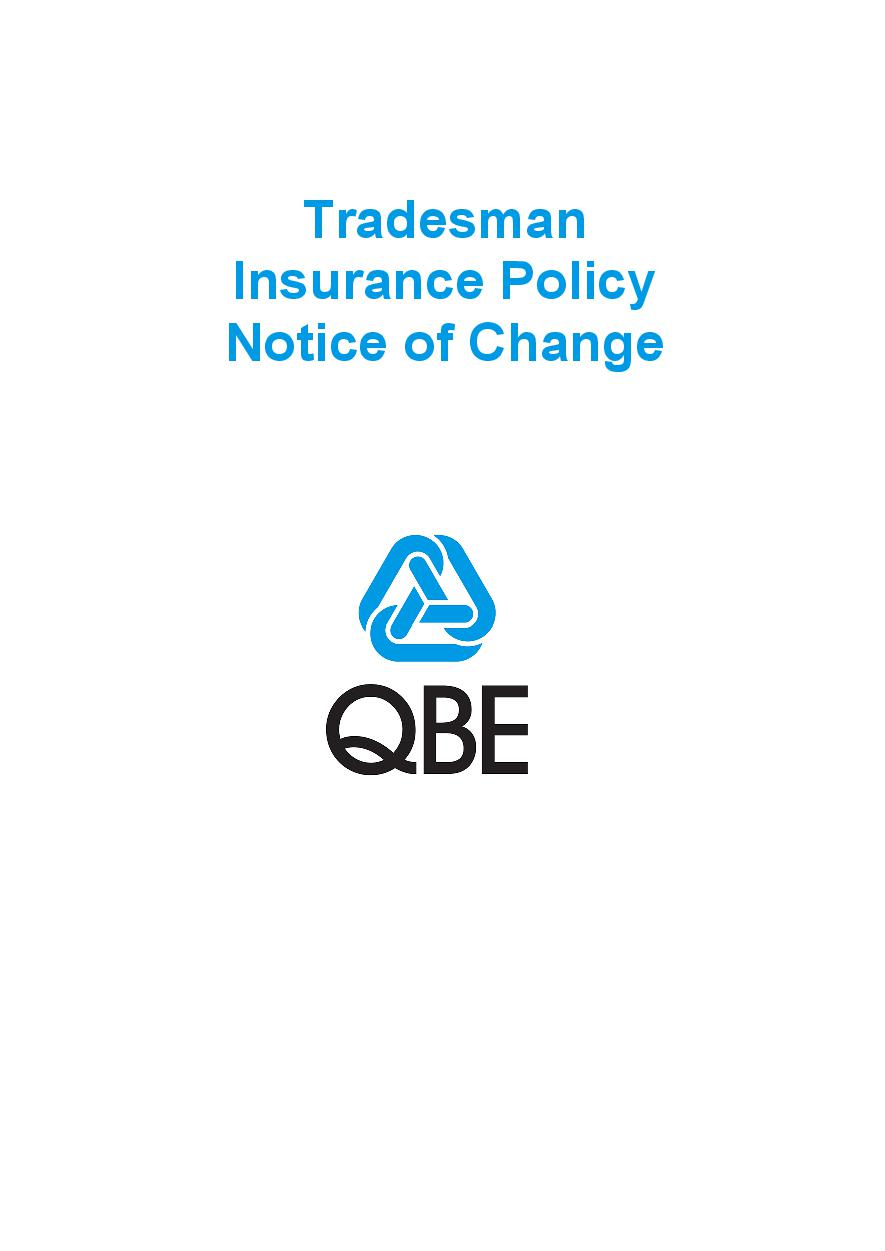NTRA111119 Tradesman Insurance Policy (Imarket) Notice of Change