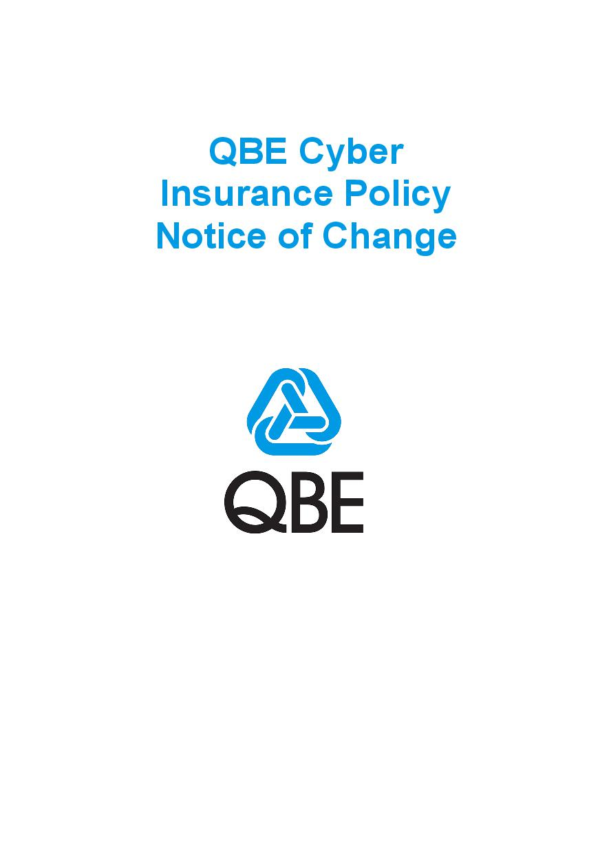 NCYS040919 QBE Cyber Insurance Policy  Notice of Change