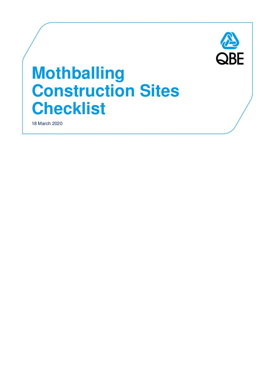 Mothballing Construction Sites Checklist