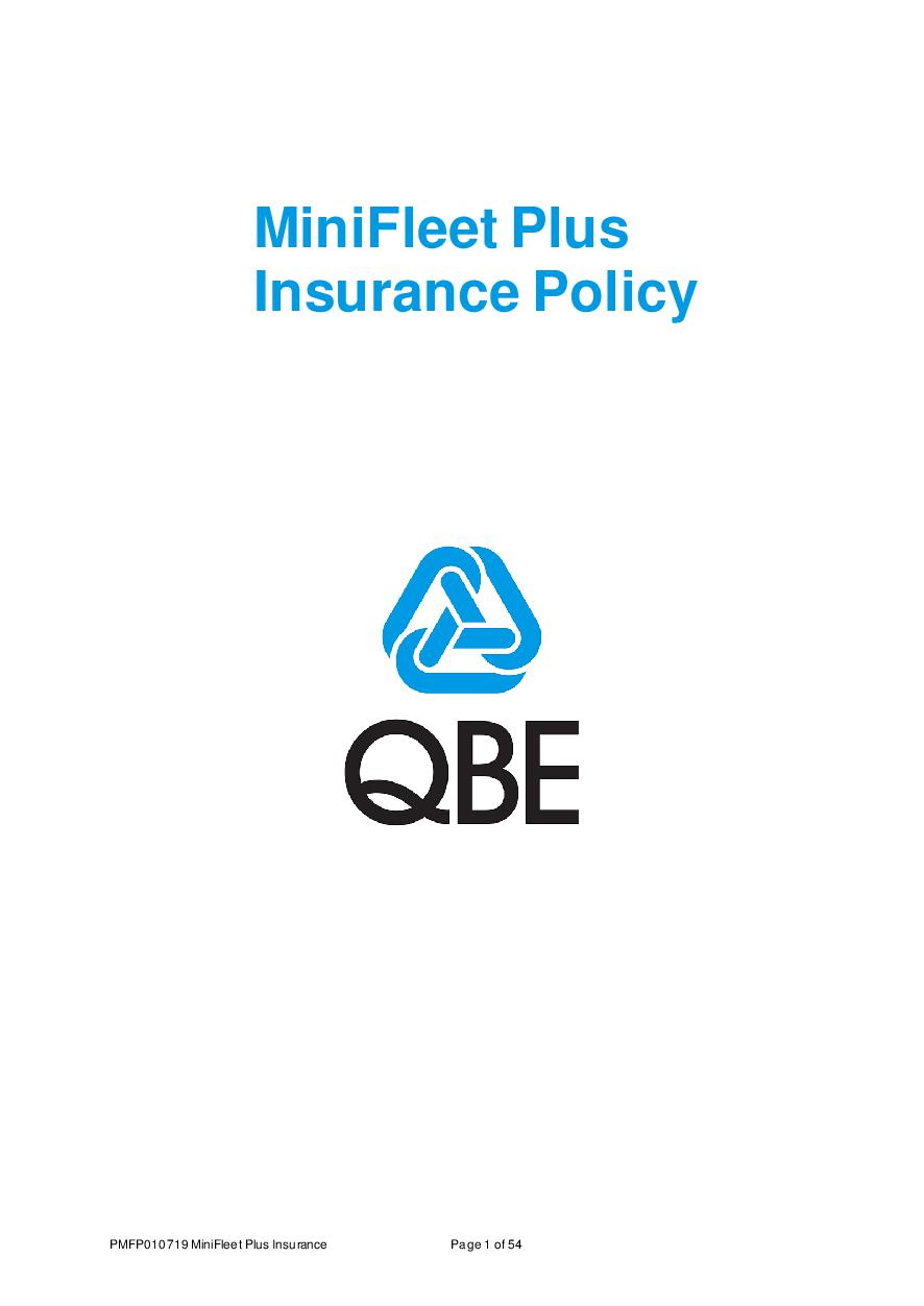 PMFP010719 Minifleet Plus Insurance Policy Wording