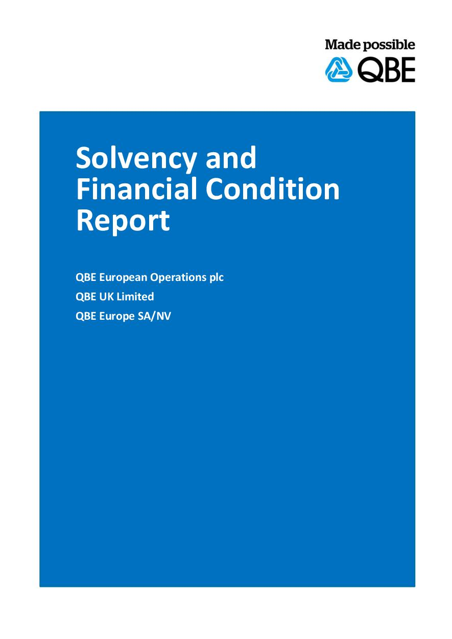 QBE European Operations Single Group Solvency and Financial Condition Report - 2019