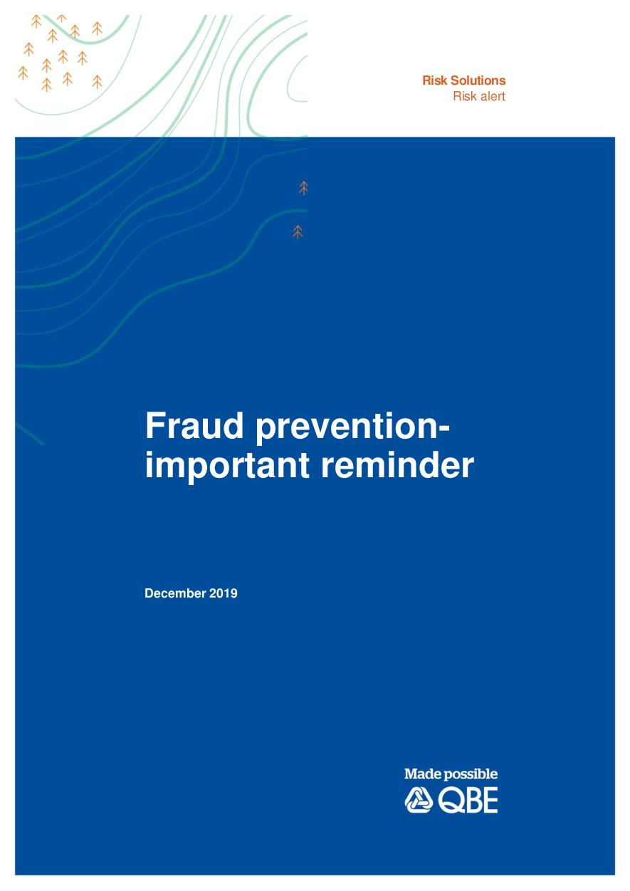 Fraud prevention important reminder