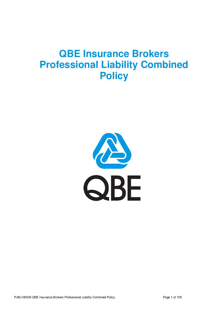 PJBL100520 QBE Insurance Brokers Professional Liability Combined Policy