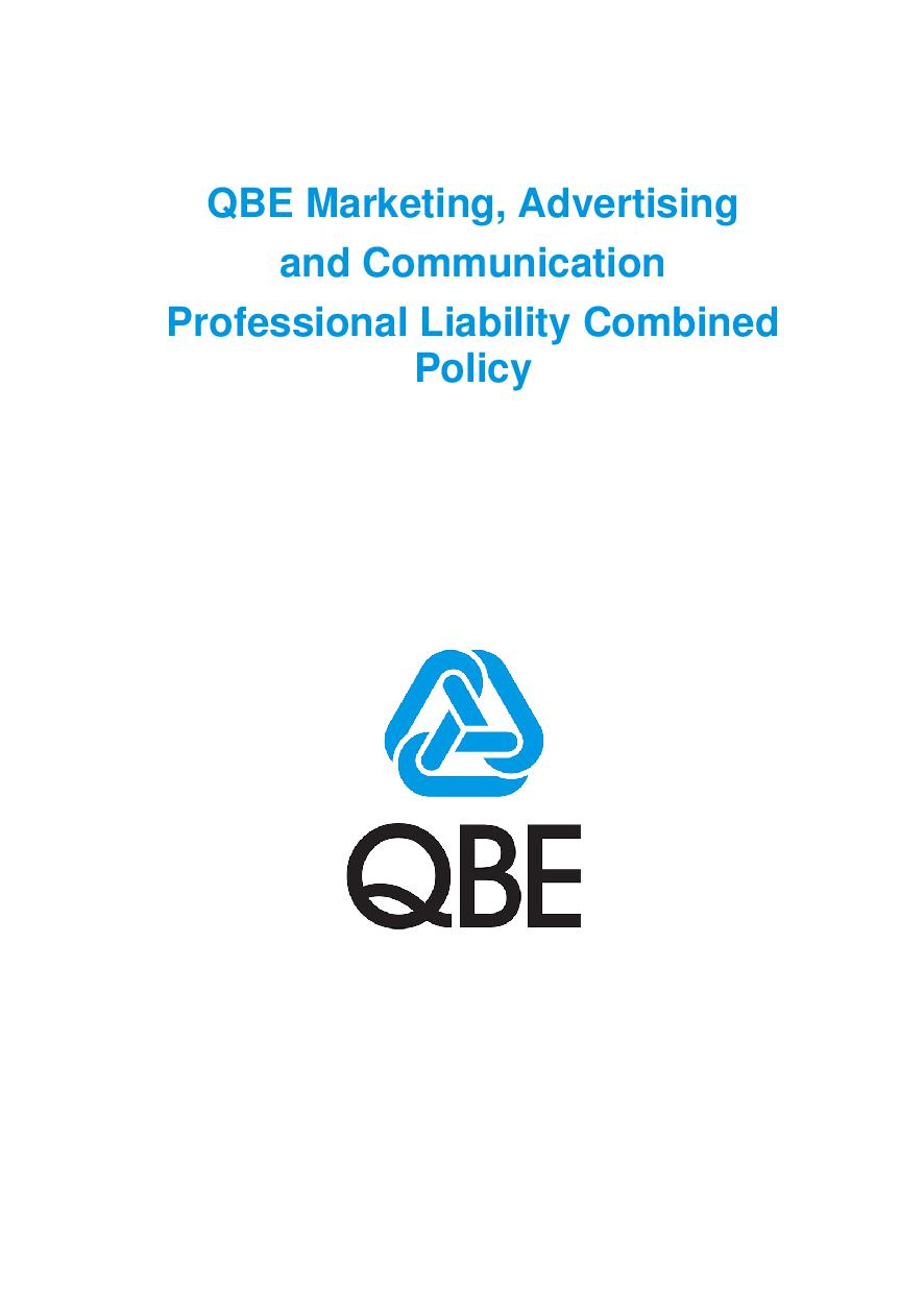 PJME100520 QBE Marketing Advertising and Communications Professional Liability Combined Policy
