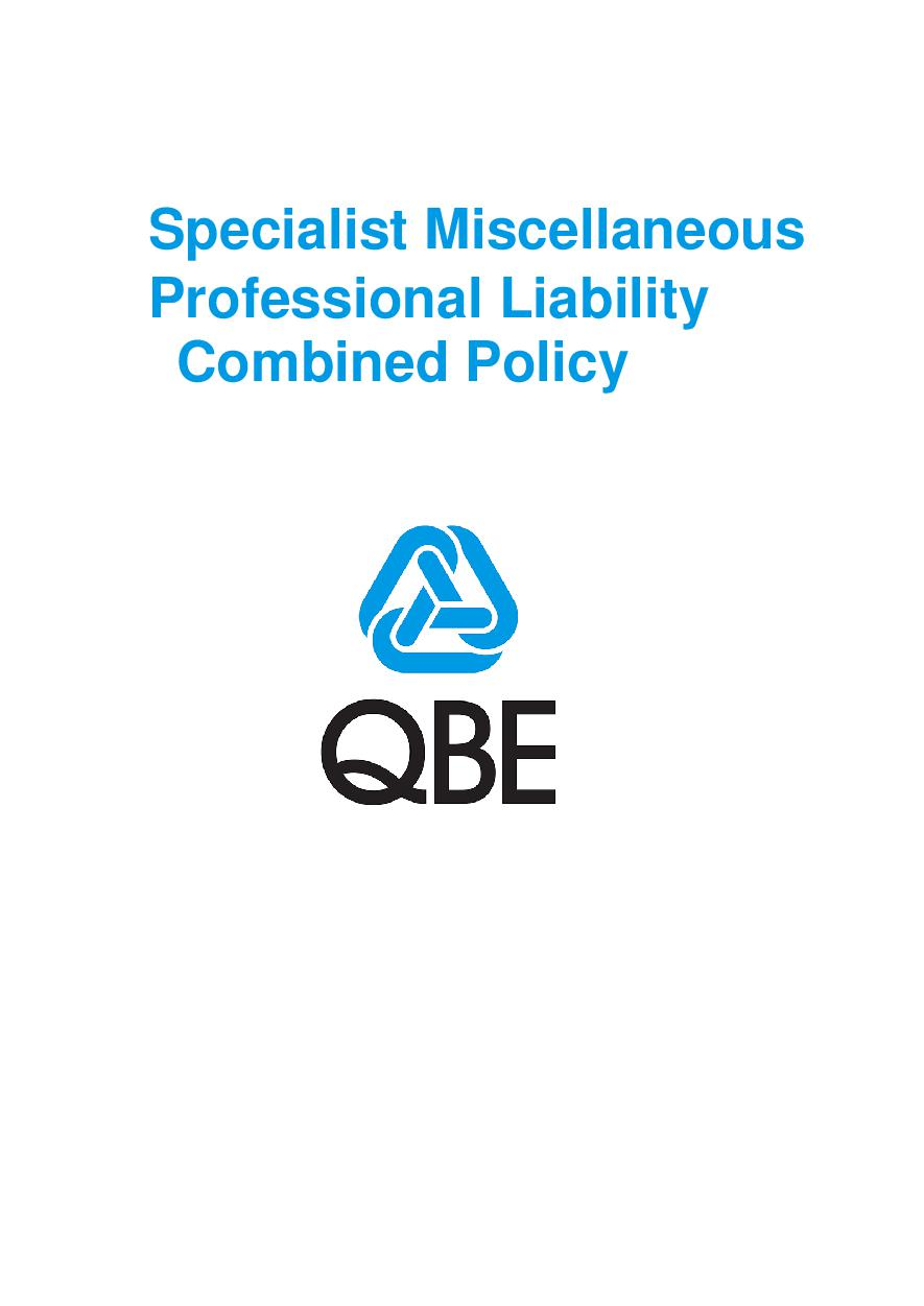 PJPU100520 QBE Specialist Miscellaneous Professional Liability Combined Policy