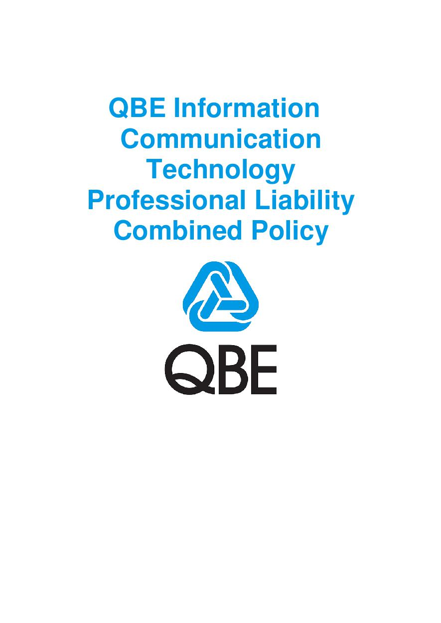 PJPV100520 QBE Information Communication Technology Professional Liability Combined Policy