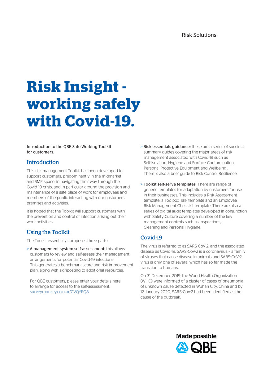 Risk Insight - working safely with Covid-19