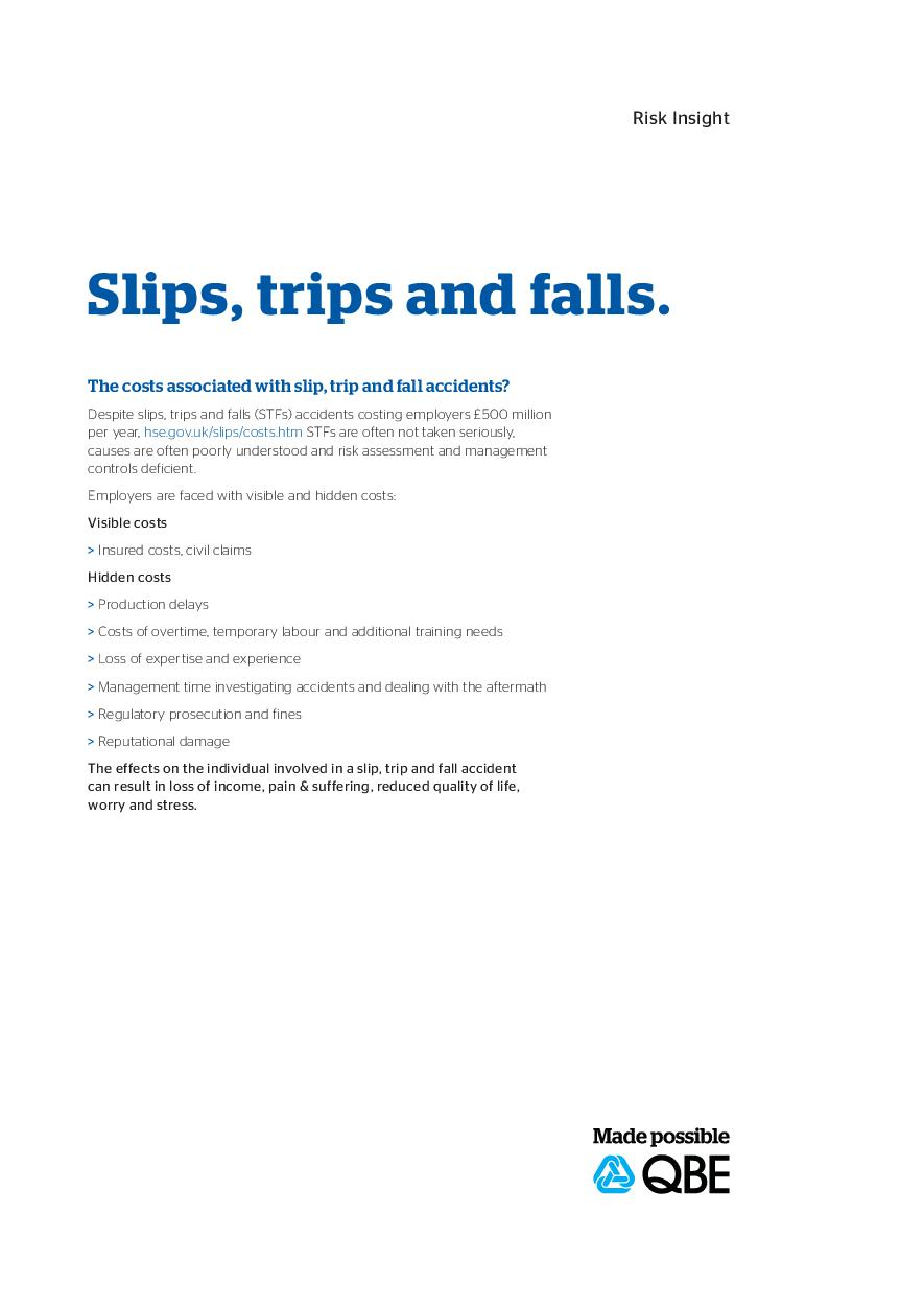Slips, Trips and Falls Risk Insight