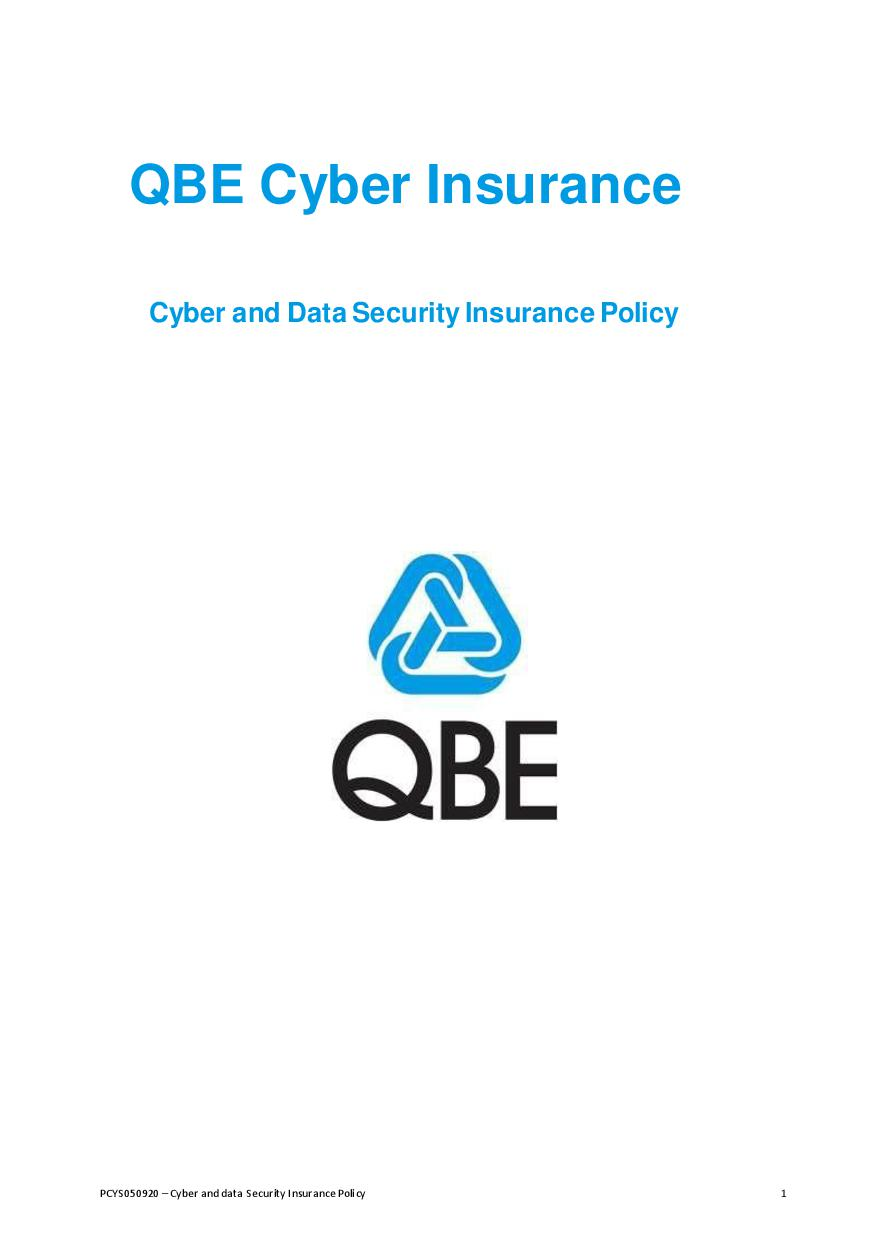 PCYS050920 QBE Cyber Insurance Policy