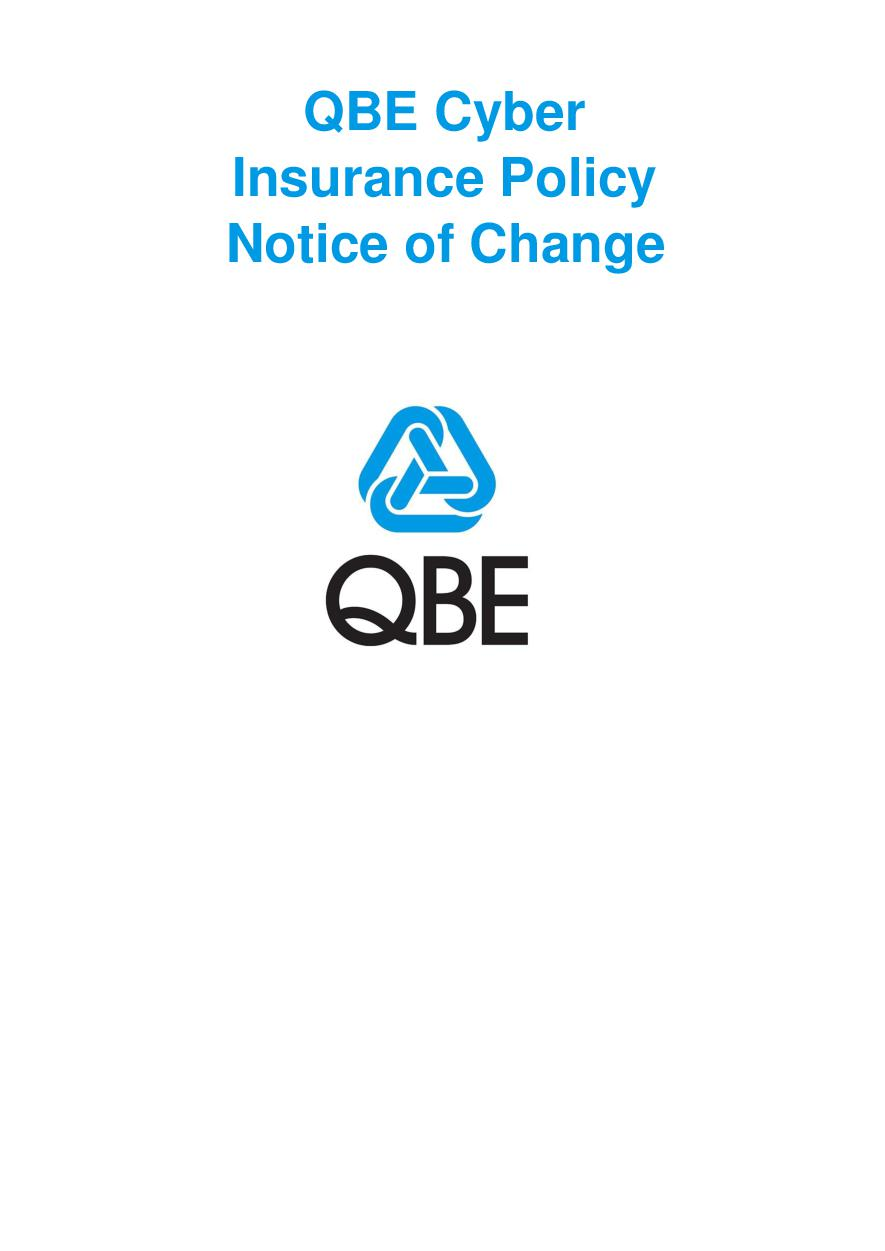 NCYS040920 QBE Cyber Insurance Policy Notice of Change