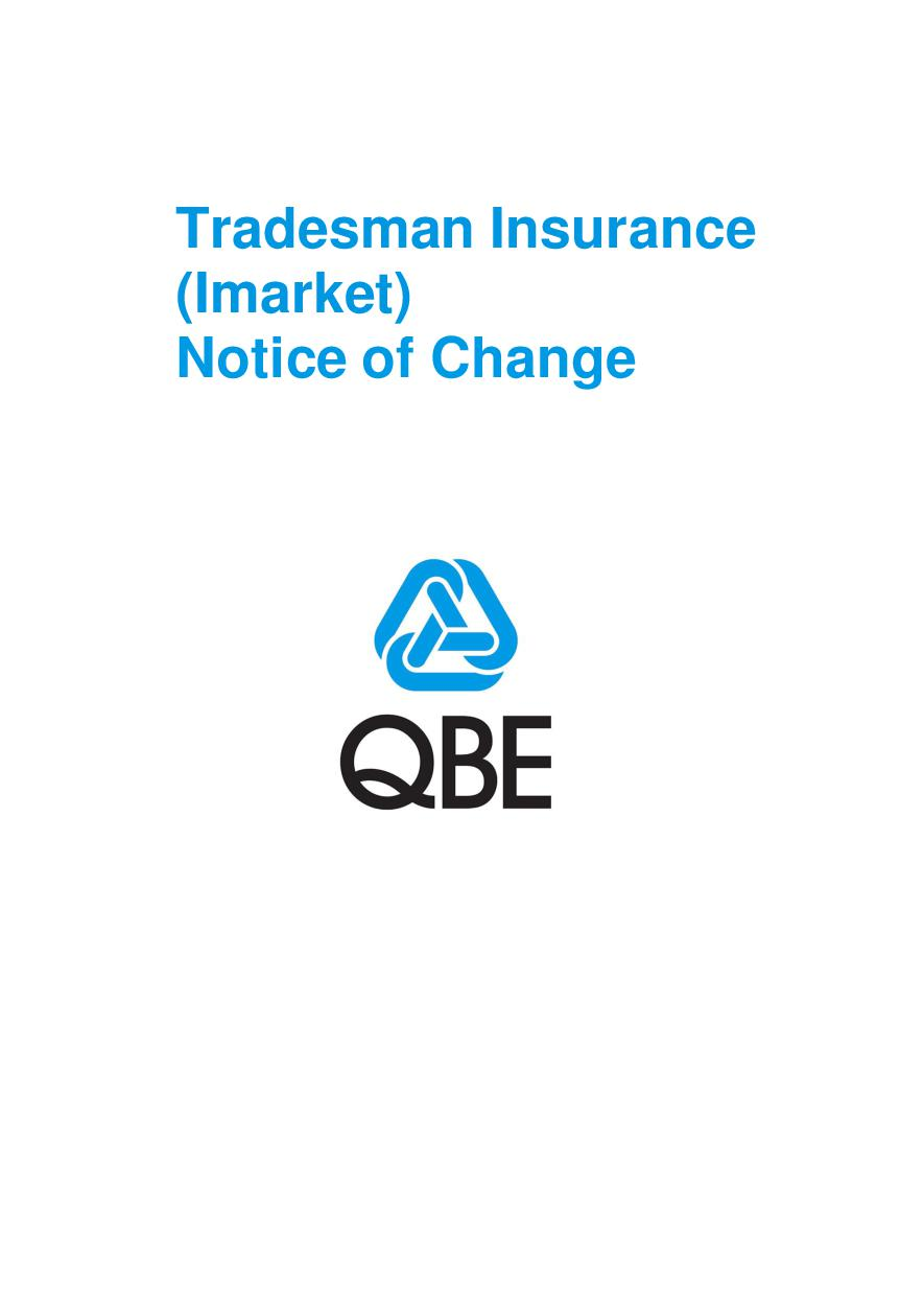 NTRA131120 Tradesman Insurance (Imarket) -  Notice of change