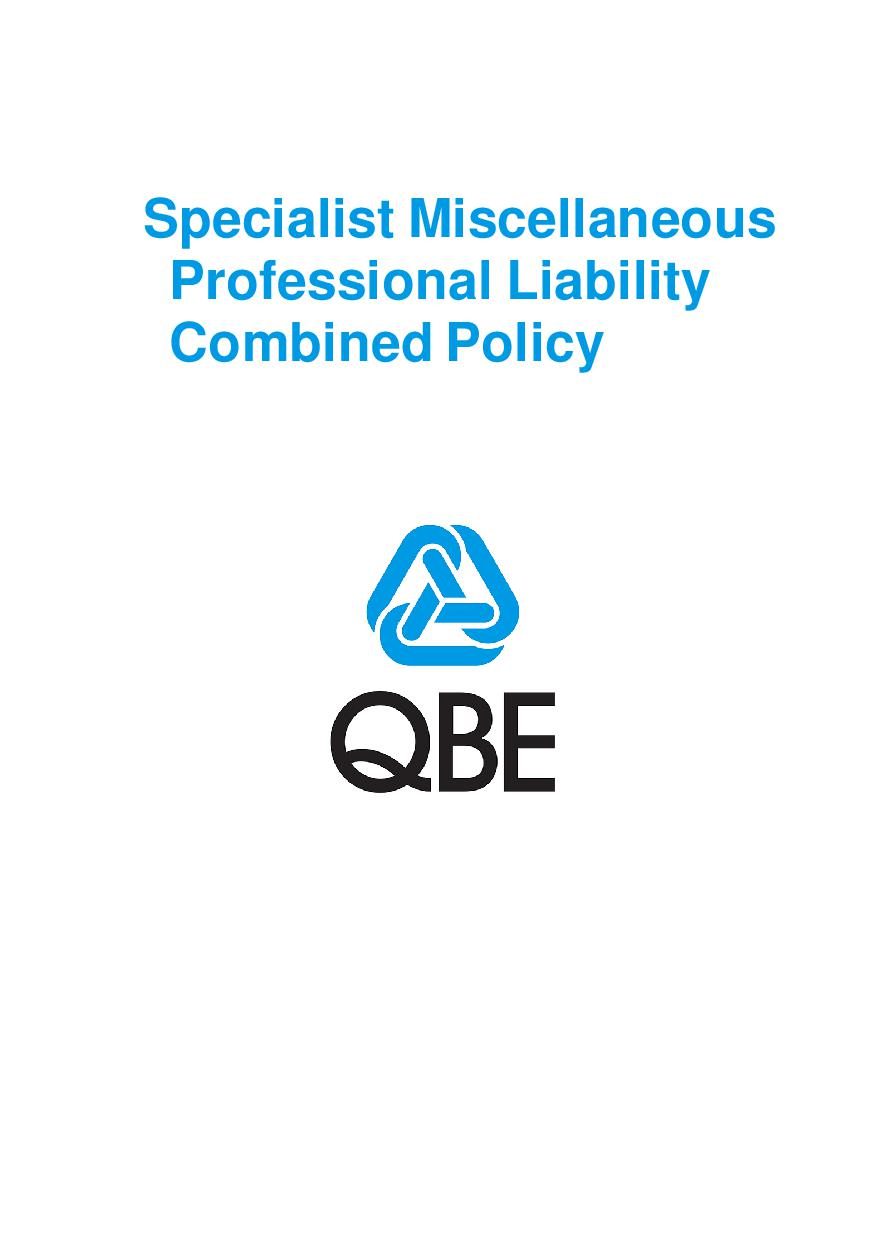 PJPU110121 QBE Specialist Miscellaneous Professional Liability Combined Policy